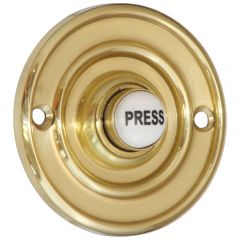 Round 60mm Polished Brass Bell Push