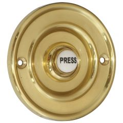 Round 76mm Bell Push - Polished Brass