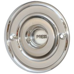 Round 76mm Bell Push - Polished Chrome