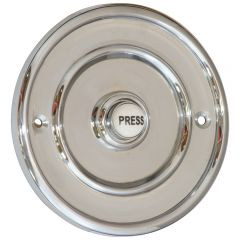 Round 100mm Bell Push - Polished Chrome