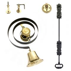 Traditional Polished Brass Butlers Bell & Black Iron Pull