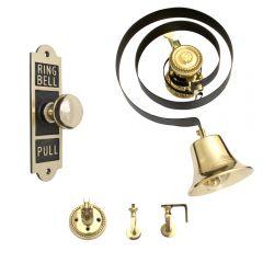 Butlers Bell Full Kit -  Oblong Embossed Bell Pull Mechanical  - Polished Brass