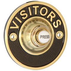 """Embossed """"VISITORS"""" Bell Push - Polished Brass"""