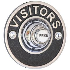 """Embossed """"VISITORS"""" Bell Push - Polished Chrome"""