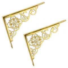 Ornate Shelf Bracket - Polished Brass