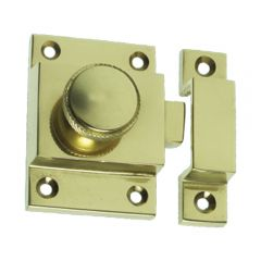 Knurled Cupboard Catch - Polished Brass