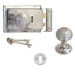 Beehive Rim Knob, Lock & Escutcheon - Polished Chrome