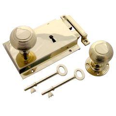 Beehive Rim Knob + Rim Lock Heavy Cast - Polished Brass
