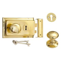 Mushroom Rim Knob, Lock & Escutcheon - Polished Brass