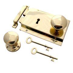 Mushroom Rim Knob + Rim Lock Heavy Cast - Polished Brass