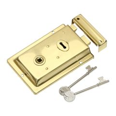 Rim Lock - Polished Brass